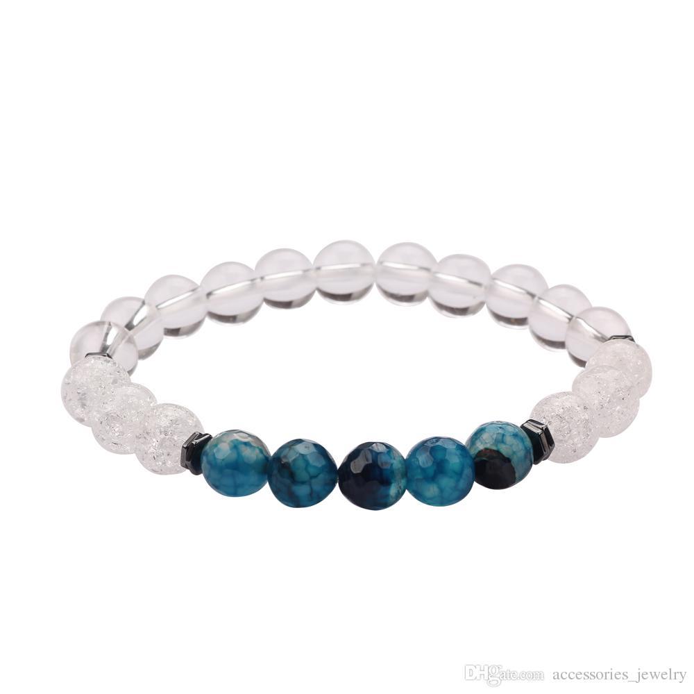 Fashion Elastic Chakra Bracelet White Crystal Beads Natural Blue Faceted Stone Bracelet for Wholesale 12 PCS/Set