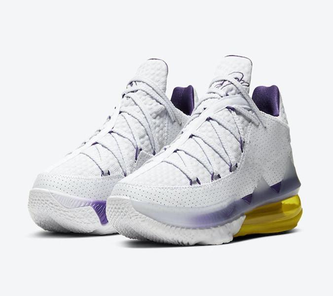 Lebron 17 Shoes XVII Baixa Lakers Início Homens basquete com Box Top Quality 17 Lakers Branco Amarelo roxo calça o tamanho 40-46