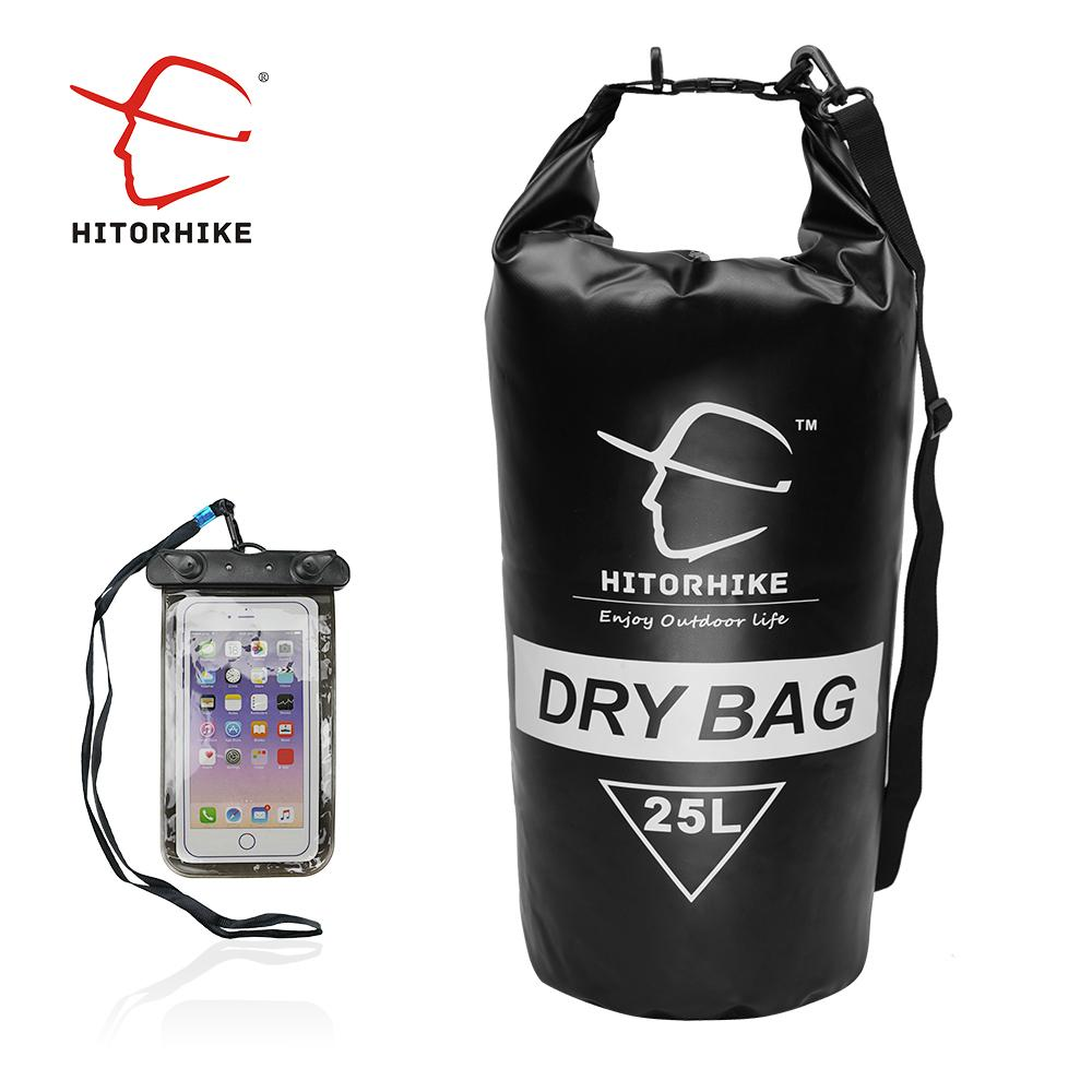 Hitorhike 25L Waterproof Dry Bag Outdoor Swimming Camping Rafting Storage Bag with with Adjustable Straps 5 Colors+phone dry C18112001