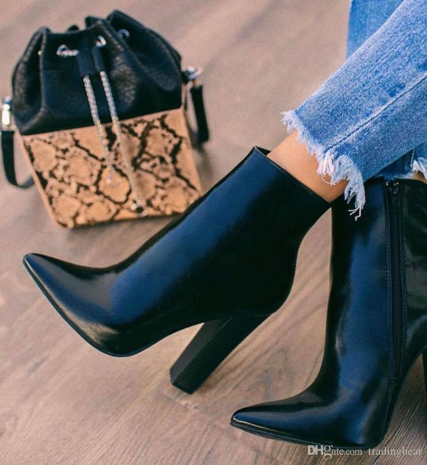 Plus size 35 to 42 black PU leather chunky heel pointed ankle booties designer winter boots