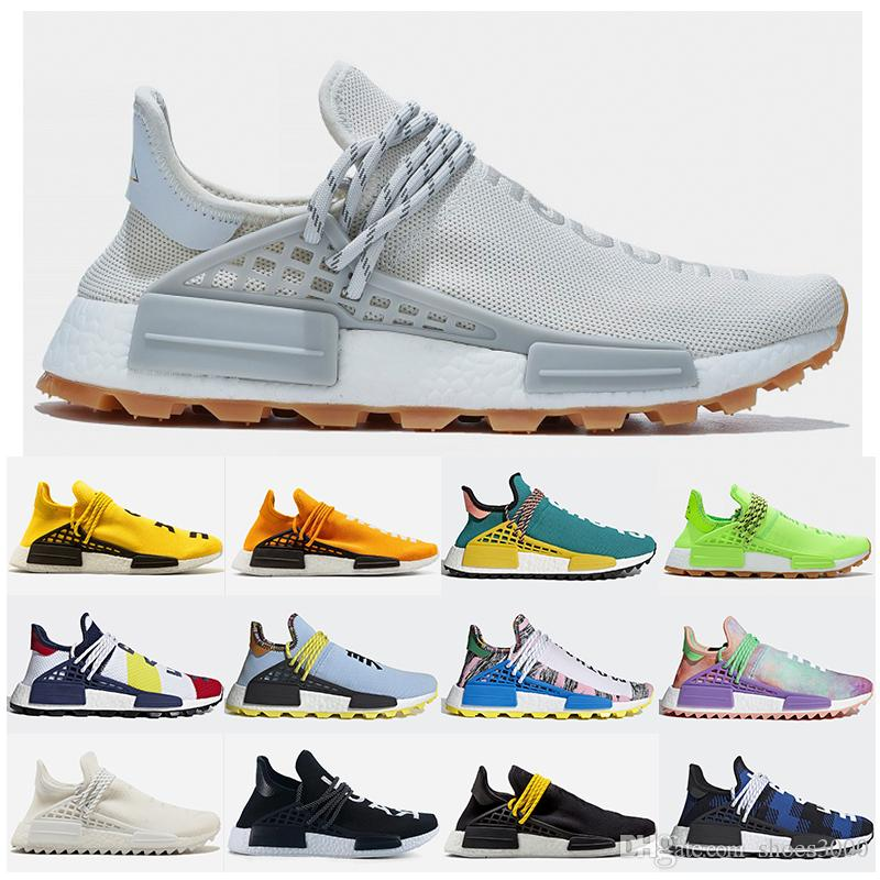 Adidias NMD Human Race amarilla Trail raza humana de los zapatos corrientes de Holi Amarillo Negro Azul Gream Hombres Mujeres Pharrell Williams HU Runner Sports zapatillas