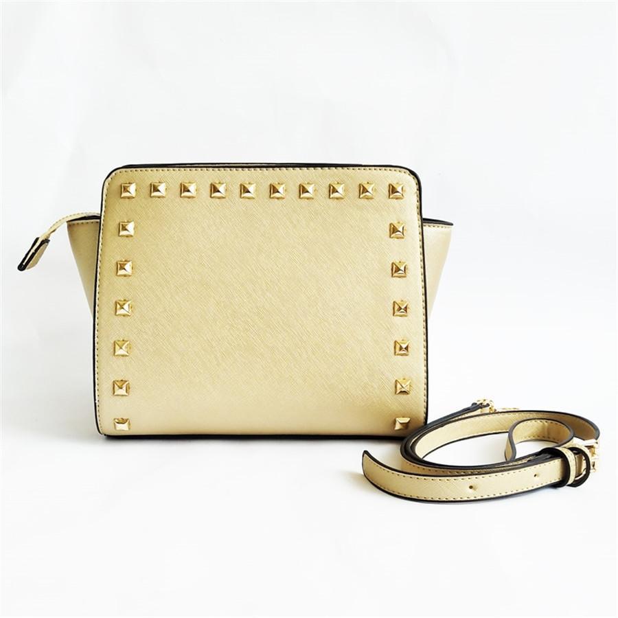 Frauen Designer Luxus Schultertasche echten Rindsleder-Niet-Kupplungs-Schulter-Big Victory Klassische Croissant Taschen # 723