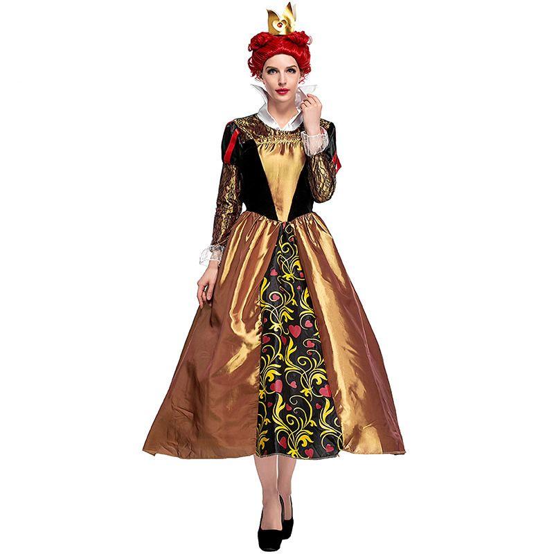 Femmes élégantes Coquin Reine De Coeurs Costume Film Vicious Reine Cosplay Robe Halloween Carnaval Parti Rétro Palais Robe Longue