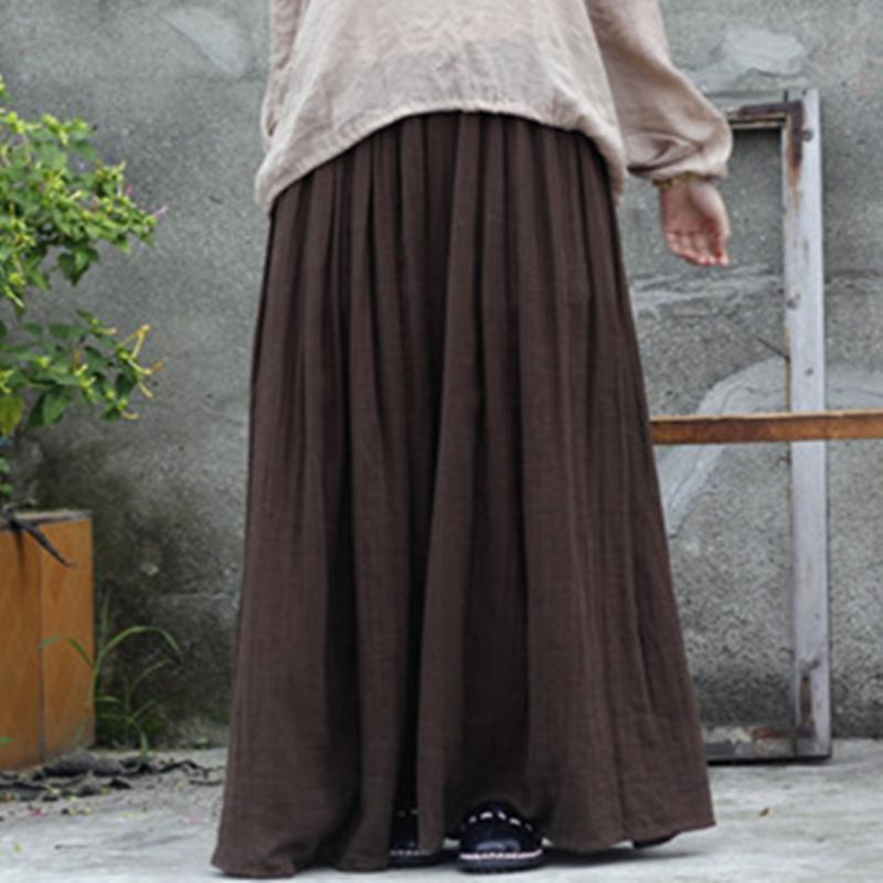 Johnature 2019 Mulheres New Algodão Linho Elastice cintura até o chão Outono plissadas Botão Sólidos Casual saias longas
