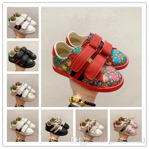 2020 zapatos de bebé para deportes de alta moda diseñador de zapatos para Kid White Girl tamaño de las zapatillas de deporte casuales niño negro zapatos de cuero del diseñador 26-35