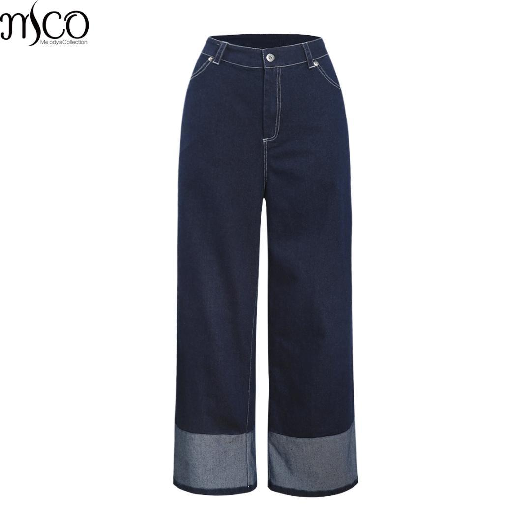 MCO 2019 New Spring Casual High Wasit Plus Size Women Jeans Basic Oversized Women's Clothing Fashion Oversized Pants 7XL 6XL 5XL