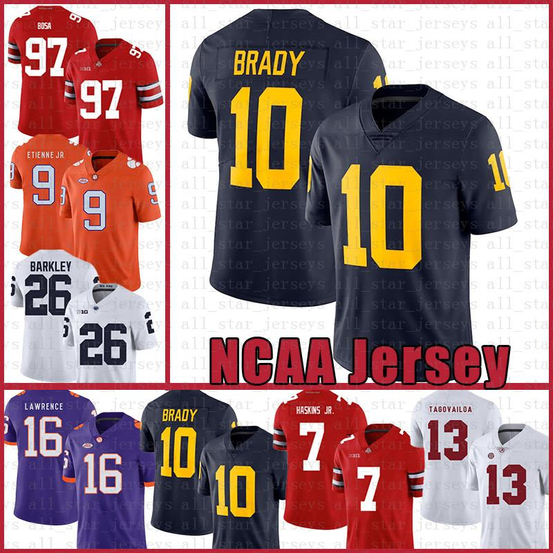 Wolverines 10 Tom Brady Jersey del fútbol americano Tom Brady 10 97 Nick Bosa 26 hombres Saquon Barkley los jerseys de Michigan