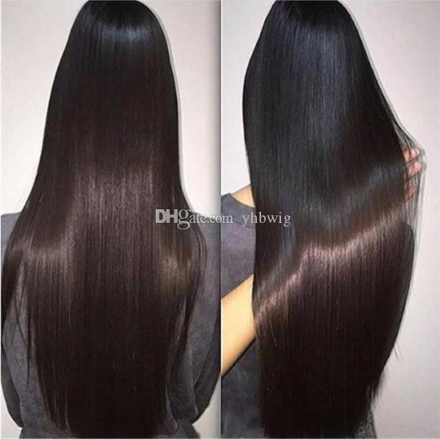 Celebrity WIG Lace Front Wig Sedoso recto color natural 10A grado Virgin Mongolian Pelo humano Pelucas de encaje completo para mujeres negras Envío gratis