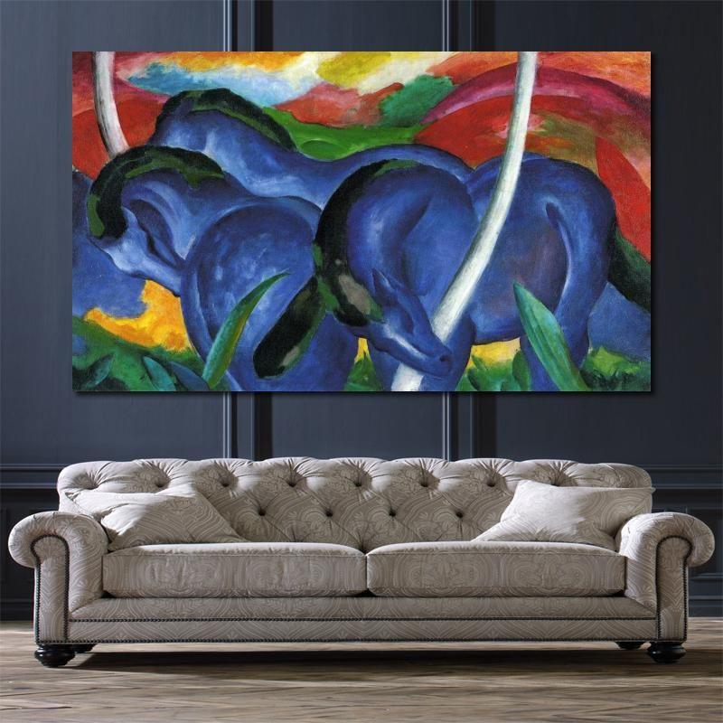 tuval el boyalı Yüksek kaliteye Büyük Mavi At Franz Marc Oil tarafından resimlerinde