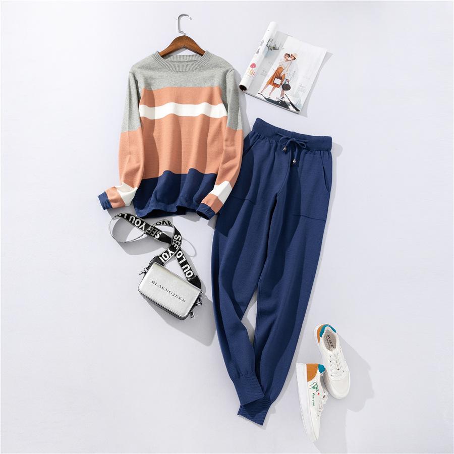 Herbst und Winter arbeiten beiläufigen Frauen Pullover Hosen-Anzug stricken Sportkleidung Farbstreifen nähen Wollanzug