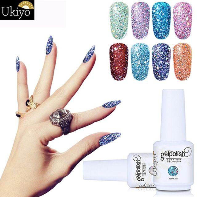 Diomand Color UV Gel Nail Varnish 15ml Soak Off Nail Gel Polish Long Lasting Bling Color Gel Nail Polish For DIY Art