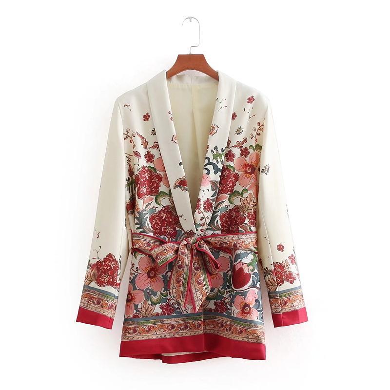 Las mujeres de la vendimia Retro Corto Estampado floral Chaqueta de traje básico de las señoras de la cintura Bowknot Casual prendas de vestir exteriores de negocios delgado abrigo