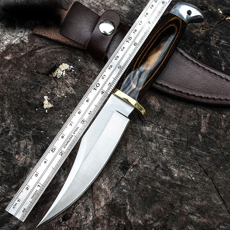뜨거운! 전술상 칼 육군 조정 잎 난조 람보 칼 목제 손잡이 군 전투 자기 방위 칼 야영지 EDC 고품질