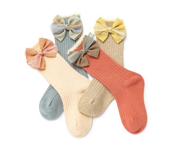 Детские длинные носки трубки весна и осень высокая трубка детская мода лук Принцесса носки 1-2-4 лет детская мода носки зима
