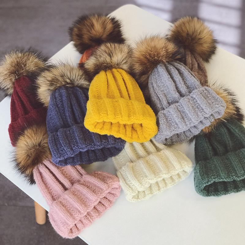Baby Solid Big Fur Ball Hats Child Crochet Knitting Wool Toddler Kids Caps Fashion Pompon Winter Warm Hats 9 Colors