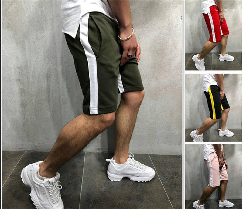 A strisce Panelled Sashes lunghezza ginocchio Pantaloni Casual 2020 primavera estate per adolescenti Pantaloni attivi Uomini Pantaloni Designer