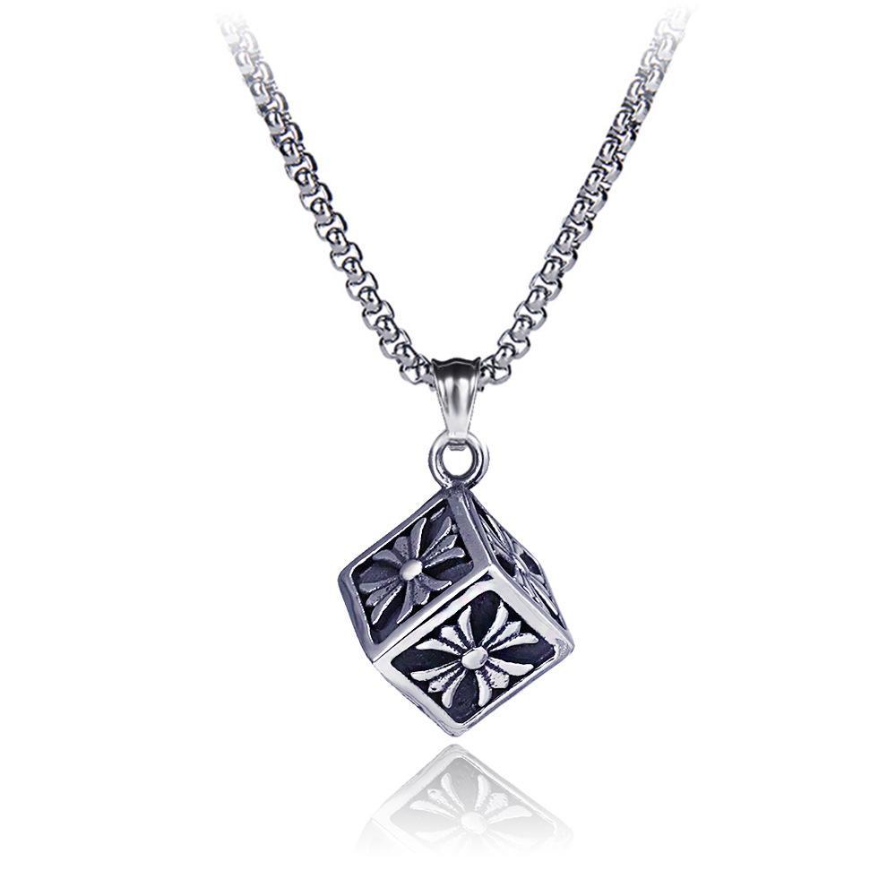 Punk Silber Edelstahl Kreuz Chromhearts Cube Anhänger Halskette Persönlichkeit Titan Stähle Retro Retro Stilen Halsketten Modeschmuck Zubehör