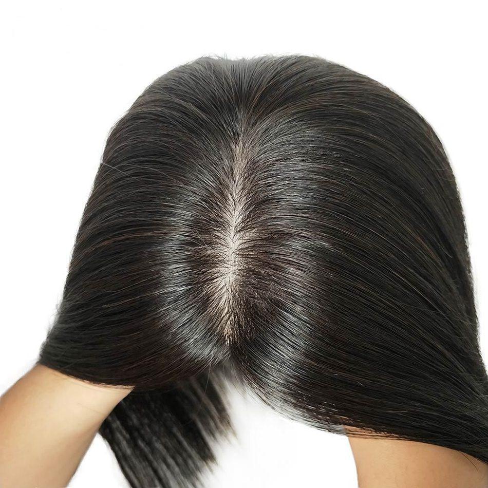 헤어 가발 가발에서 13x15cm 인간의 머리 토퍼를 들어 여성 100 % 레미 인간 SLIK 자료 클립