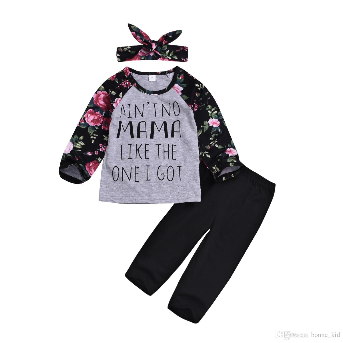 Baby Girls Long Sleeve Letter Hoodie Romper and Pants Years Outfit Bbay Outfits