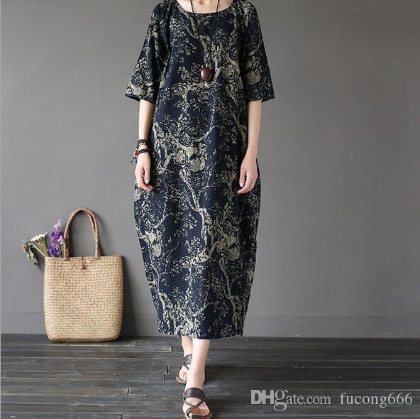 Nouveau coton et lin grande robe des femmes de taille, célèbre style ethnique robe lâche