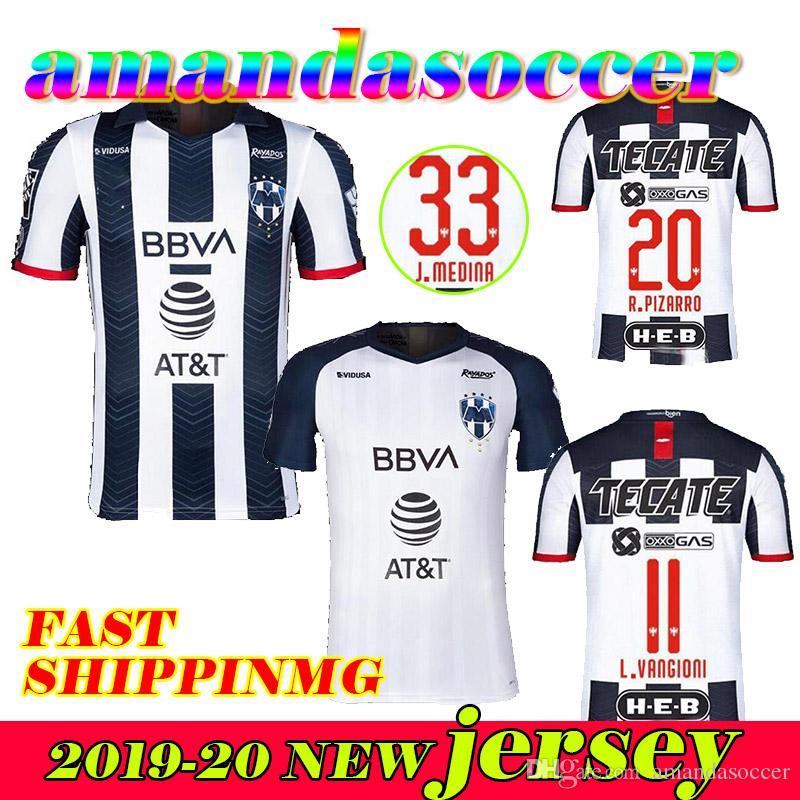 2019 2020 Rayados de Futebol casa V.JANSSEN 9 afastado D.PABON R.FUNES MORI camisas de futebol 19 20 camisa branca de qualidade superior