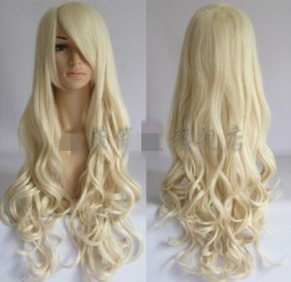 Парик бесплатная доставка мода светлая блондинка длинные вьющиеся женские косплей парик