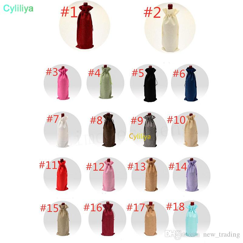 18 Colors Linen Drawstring Wine Bags Dustproof Wine Bottle Packaging Bag Champagne Pouches Party Gift Wrap