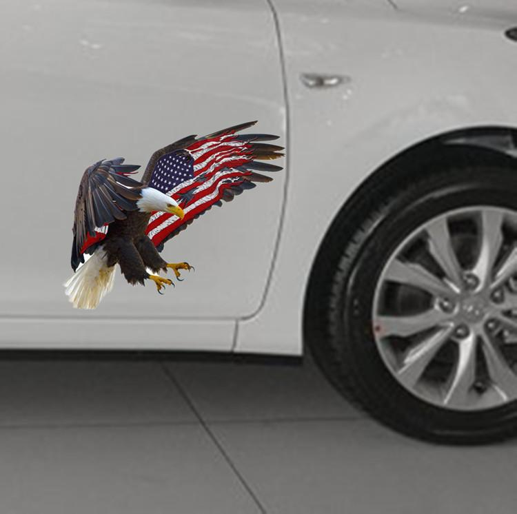popular 14*12cm 3D Eagles with American flag car sticker,personalized decals for all parts of car