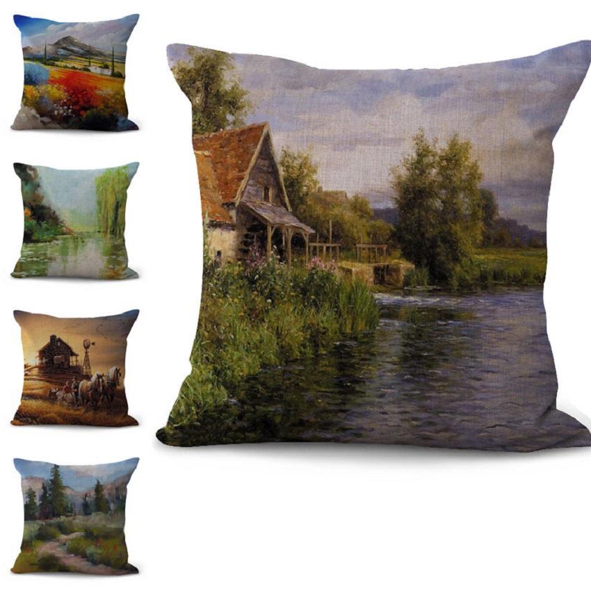 Cenário idílico Pinte fronha Fronha lençóis de algodão Lance Praça Pillow Covers 10 cores personalizadas gratuito 45x45cm 100g
