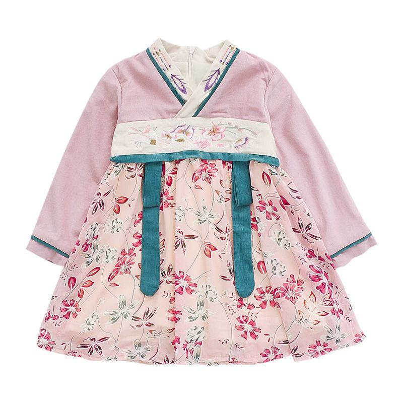 chinese style traditional princess dress age for 1 - 6 yrs little girls hanfu long sleeve dress autumn winter baby girls frocks
