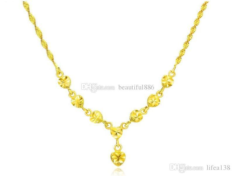 New Luxury Gold Farbe Frauen Halskette Herz Design Damen Gliederkette Schmuck Zubehör Halsketten Weibliche Romantische Hochzeit Anhänger Geschenk