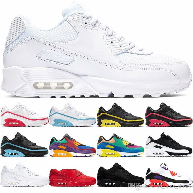 Nike Air Max 90 Hommes Femmes Hommes Chaussures de course Formateurs INVAINCUS de base Noir Orbit Chaussures de sport Chaussures de sport Livraison gratuite Taille 36-45