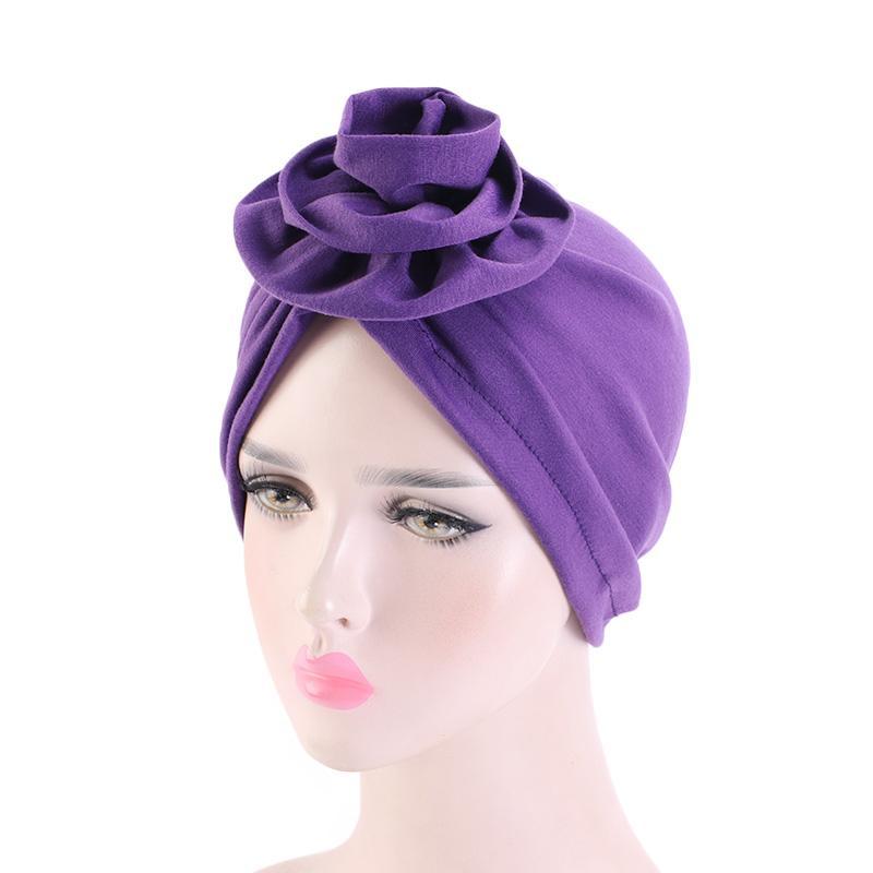 Мода мягкого Цветок хлопок Plain Хиджаб Cap Женщина Мусульманский Тюрбан Hat Исламский шарф Тюрбан Теплого Бандана Hat Lady Аксессуары для волос
