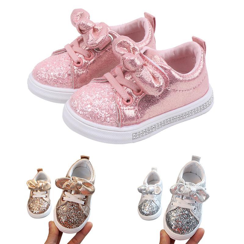 2020 Мода Малышей Новорожденных Девочек Лук Блесток Детская Кроватка Обувь Малыш Девушка Розовое Золото Серебро Повседневная Обувь Платье Обувь