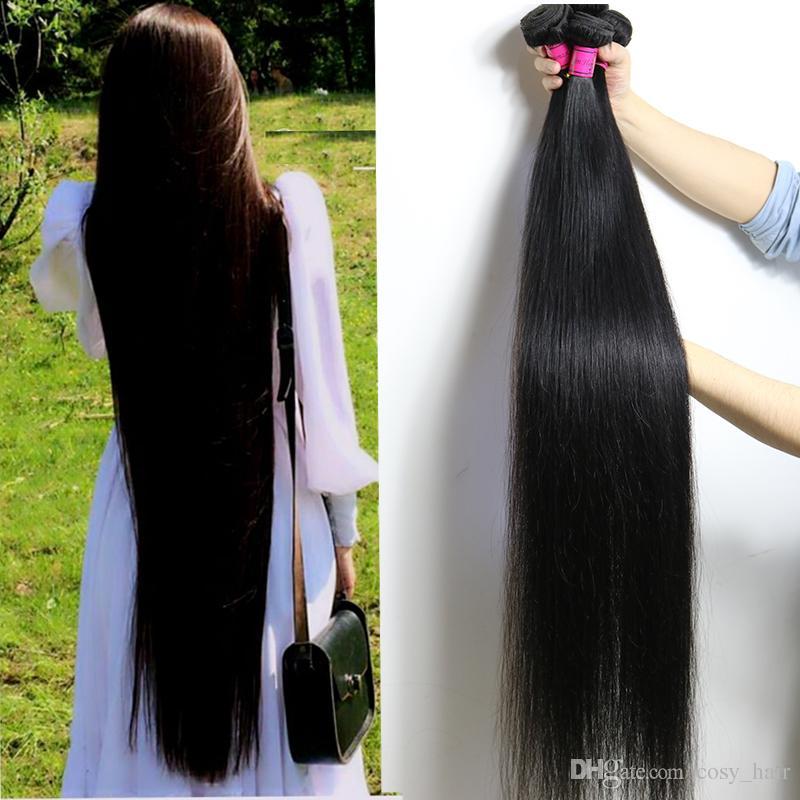 28 30 32 34 36 40 بوصة غير المجهزة البرازيلي العذراء الشعر مستقيم حزم 10-26 بوصة الجسم موجة المياه العميقة غريب مجعد الشعر