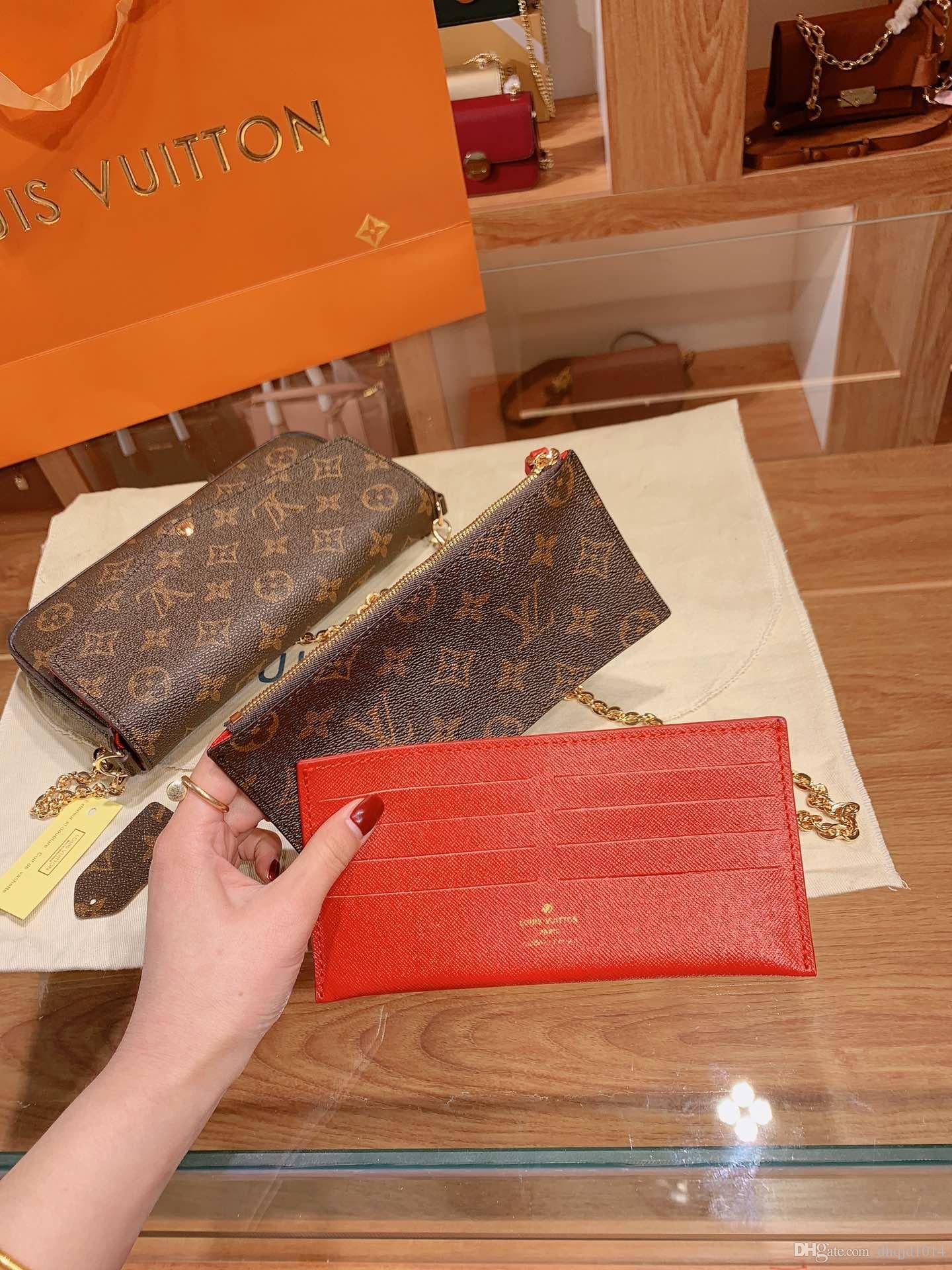 Classic donne del progettista Borse stampa Fiori 3 in 1 catena di borsa di cuoio reale del raccoglitore della carta di Crossbody della spalla della borsa Messenger Portafogli borsa