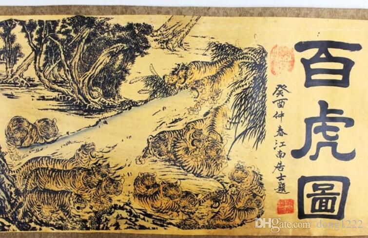 Colección de pintura en pergamino antiguo chino sobre seda: imagen de 100 tigres