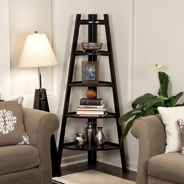 Waco маленькая лестница угловой полка, гостиная, 5-х частей дерева книжная полка дисплей стойки стойки стойки подставка для завода держатель спальни книжный шкаф мебели хранения черного цвета