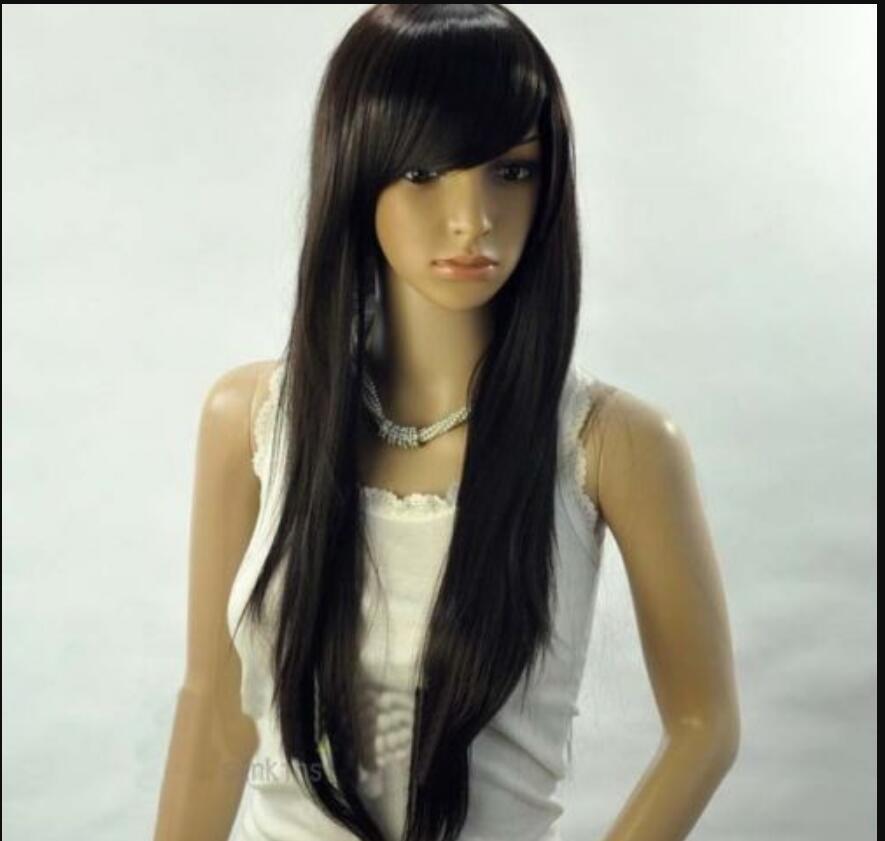 شعر مستعار أزياء أنيقة أسود طويل مستقيم تصفيفة الشعر هامش بنات / المرأة الباروكات