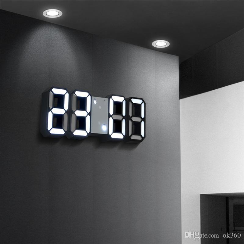 3D LED Reloj Digital Snooze Dormitorio Relojes de Alarma Colgando Reloj de Pared 12/24 Horas Calendario Termómetro Decoración Del Hogar Regalo