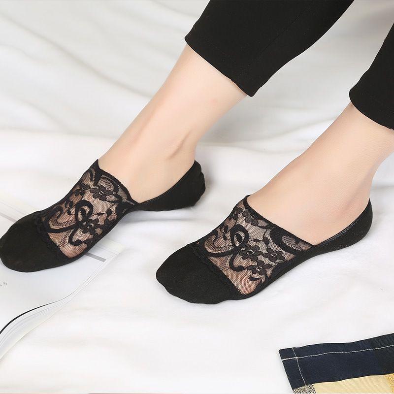 Pizzo Bianco Nero pizzo trasparente calzini donne di estate scava fuori calzini della barca pantofole femminile morbida Bassa calzini invisibili Ped
