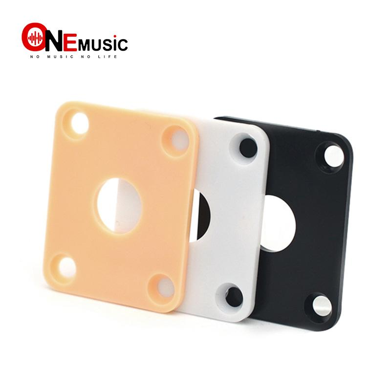 100Pcs Yellow/Black/white Plastic Square Guitar Jack Plates JackPlate Cover for LP Electric Guitar