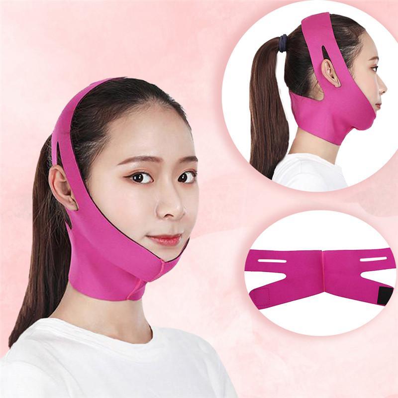 V şekli İnce Yüz Germe Masaj Yüz Zayıflama Kemeri Yüz Masaj Aracı Kırışık Karşıtı Çift Çene Bandaj Yüz Shaper azaltın Maske