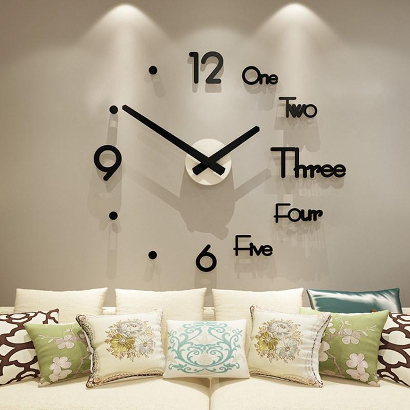 Oversized creative wall clock diy living room fashion home art clock modern design simple personality hanging