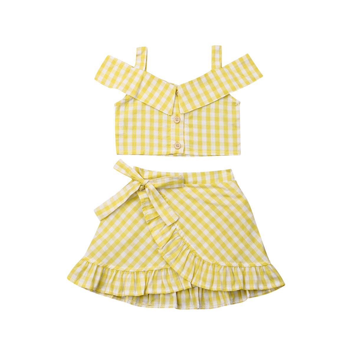 Pudcoco 2019 الصيف الأصفر طفل أزياء الطفل بنات منقوشة ملابس معطلة الكتف المحاصيل الأعلى + توتو تنورة الزي مجموعة