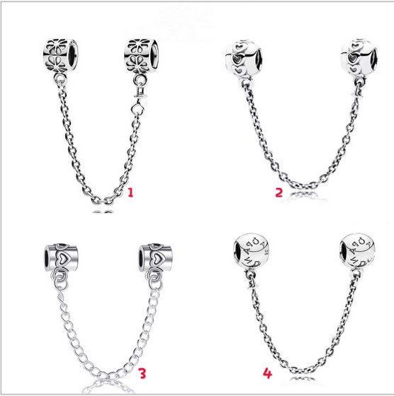 Sterling Silver Rose Stopper Clip Safety Chain Bead for European Charm Bracelet
