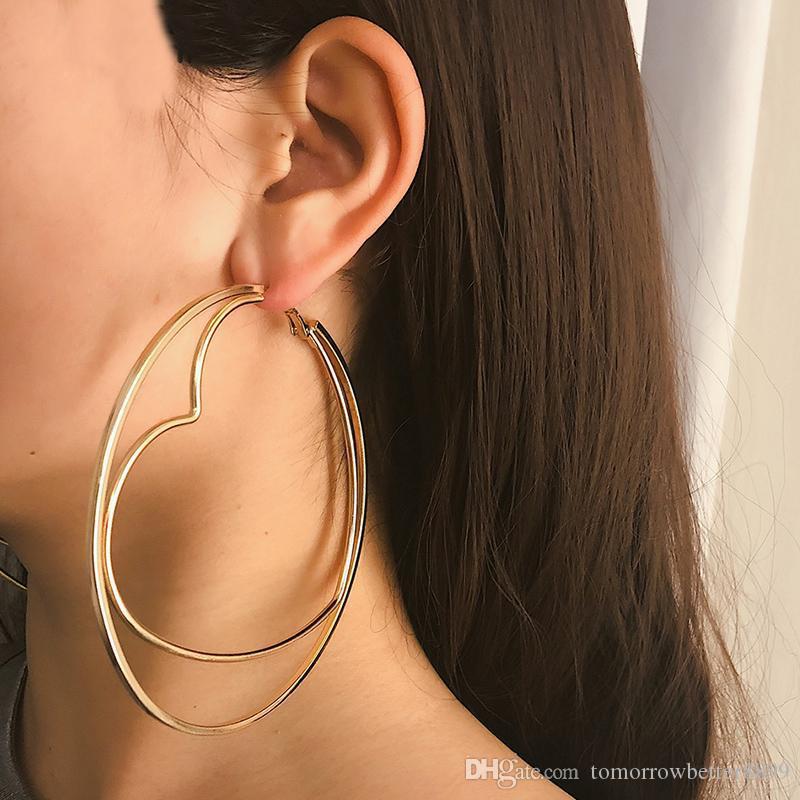 Gioielli orecchio Iperbole Big Oversize Heart Gold Circle orecchini a cerchio per le donne punk di metallo rotonda anello femmina orecchino
