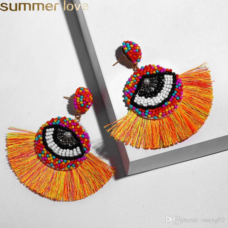 Boho della nappa orecchini per le donne Male gioielli etnici Wedding Blue Eyes orecchini di goccia di cristallo del branello lungo frange ciondola gli orecchini