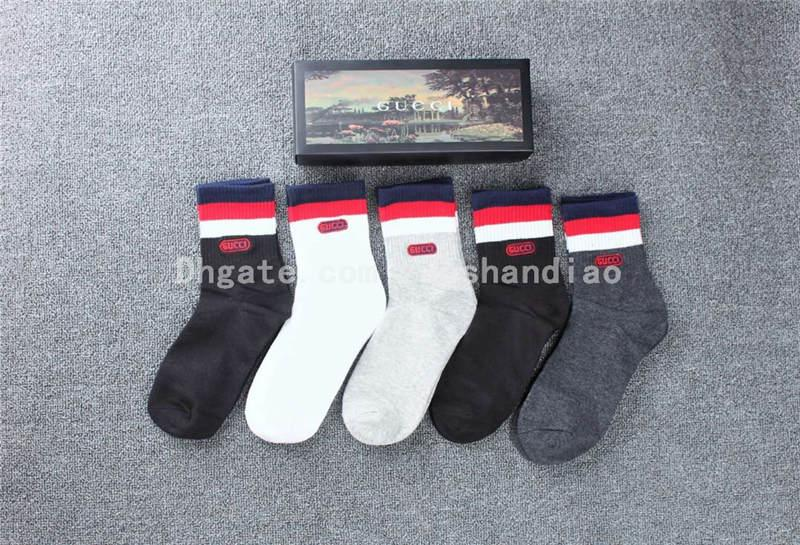 5 accoppiamenti Letter Box lusso Shallow Socks Uomo Donna Outdoor Sports Sock autunno estate di alta qualità corsa Calzini Sport