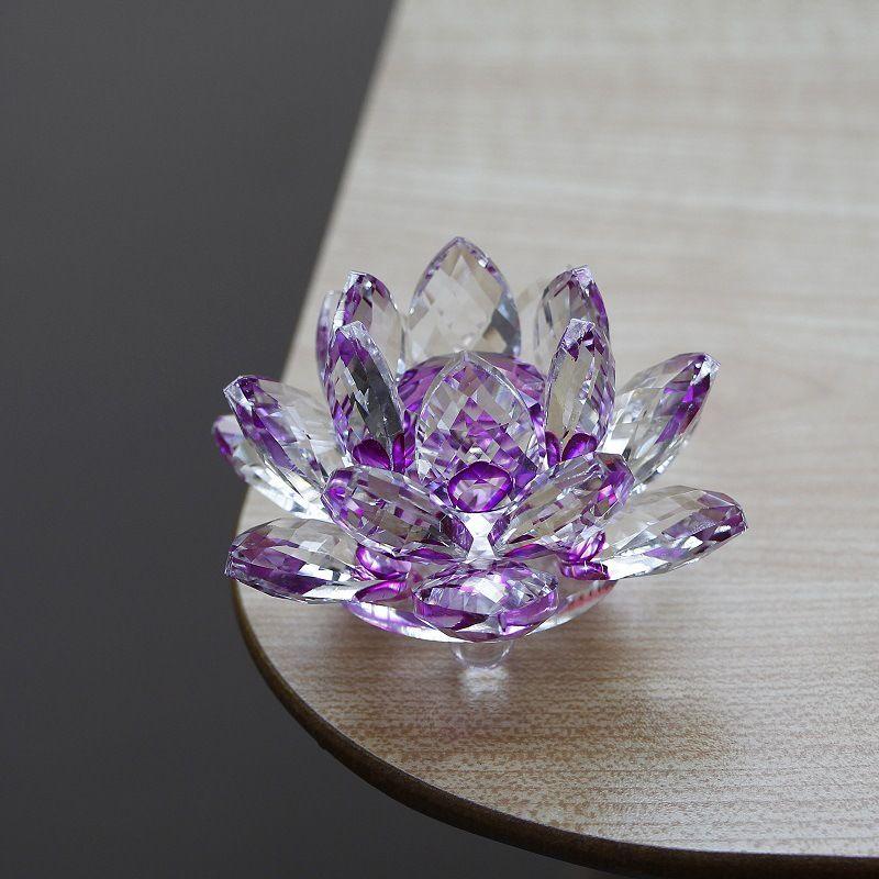 2019 Crystal Glass Lotus Flower Candle Tea Light Holder Buddhist
